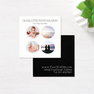 Modern black and white 4 photographs Square Square Business Card