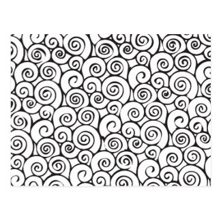 Modern Black and White Abstract Swirly Pattern Postcard