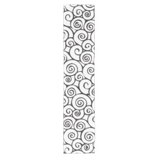 Modern Black and White Abstract Swirly Pattern Short Table Runner