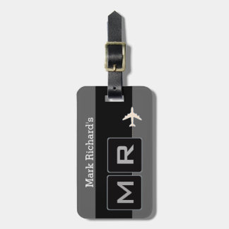 modern black and white airplane travel luggage tag