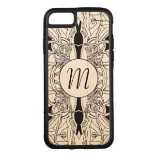 Modern Black and White Artwork Design w/Monogram Carved iPhone 8/7 Case