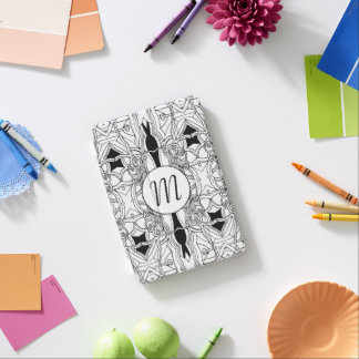 Modern Black and White Artwork with Monogram iPad Mini Cover