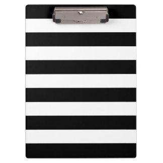 Modern Black and White Bold Stripes Pattern Clipboard