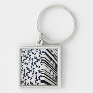 Modern black and white building in Hong Kong 2 Silver-Colored Square Keychain