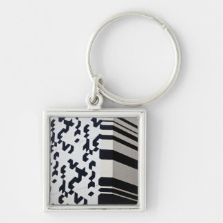 Modern black and white building in Hong Kong Silver-Colored Square Keychain