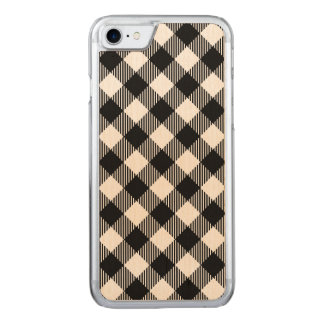 Modern Black and White Check Gingham Pattern Carved iPhone 8/7 Case