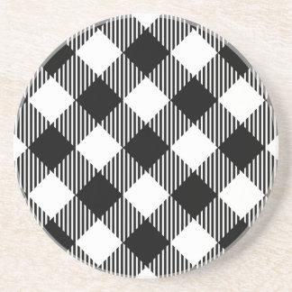 Modern Black and White Check Gingham Pattern Coaster