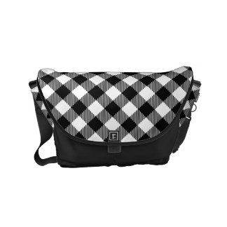 Modern Black and White Check Gingham Pattern Commuter Bag