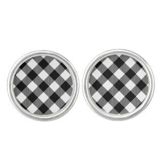 Modern Black and White Check Gingham Pattern Cufflinks