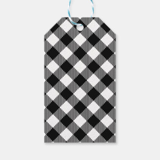 Modern Black and White Check Gingham Pattern Gift Tags