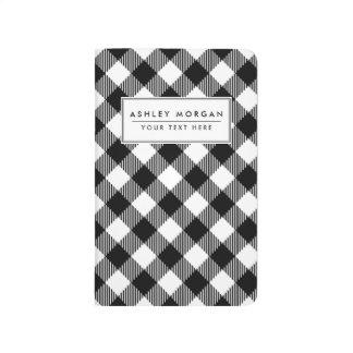 Modern Black and White Check Gingham Pattern Journal