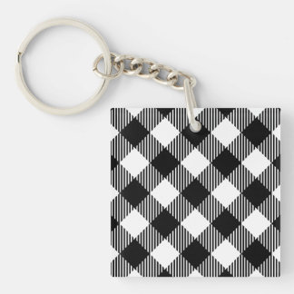 Modern Black and White Check Gingham Pattern Keychain