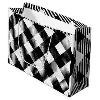 Modern Black and White Check Gingham Pattern Large Gift Bag