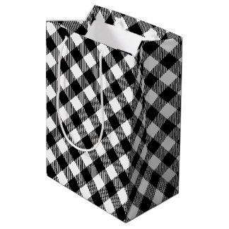 Modern Black and White Check Gingham Pattern Medium Gift Bag