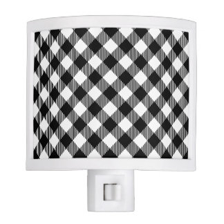 Modern Black and White Check Gingham Pattern Night Lights