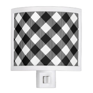Modern Black and White Check Gingham Pattern Nite Lite
