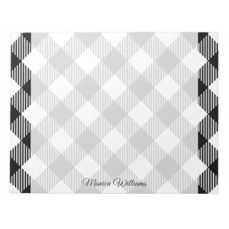 Modern Black and White Check Gingham Pattern Notepad