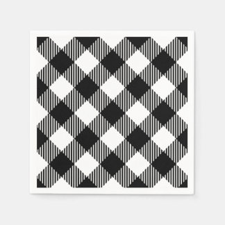 Modern Black and White Check Gingham Pattern Paper Napkin