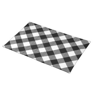 Modern Black and White Check Gingham Pattern Placemat