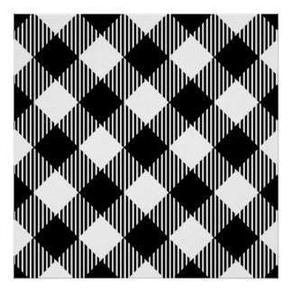 Modern Black and White Check Gingham Pattern Poster