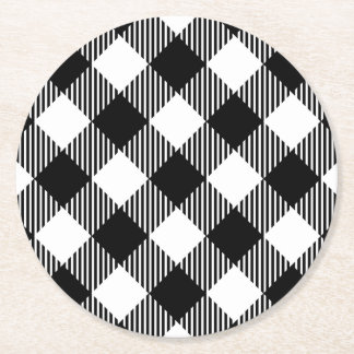 Modern Black and White Check Gingham Pattern Round Paper Coaster