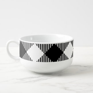 Modern Black and White Check Gingham Pattern Soup Mug