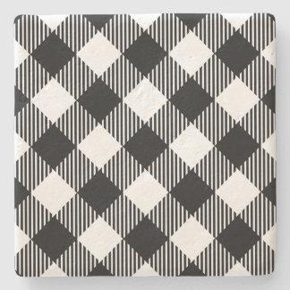 Modern Black and White Check Gingham Pattern Stone Coaster