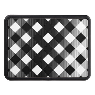 Modern Black and White Check Gingham Pattern Trailer Hitch Cover