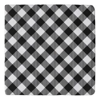 Modern Black and White Check Gingham Pattern Trivet