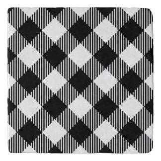 Modern Black and White Check Gingham Pattern Trivet
