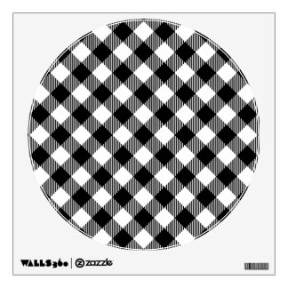 Modern Black and White Check Gingham Pattern Wall Decal