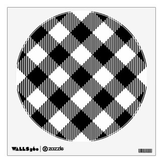 Modern Black and White Check Gingham Pattern Wall Sticker