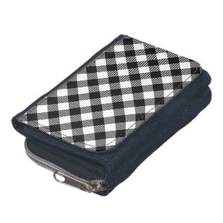 Modern Black and White Check Gingham Pattern Wallet