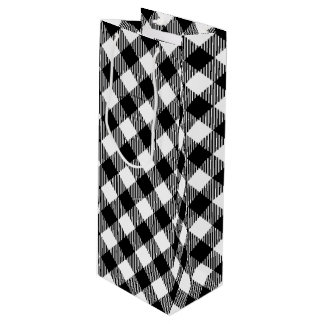 Modern Black and White Check Gingham Pattern Wine Gift Bag