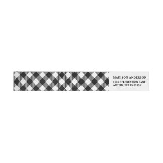 Modern Black and White Check Gingham Pattern Wrap Around Label