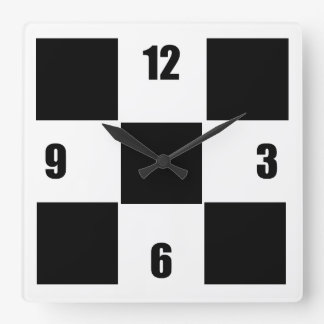 Modern Black And White Checked Clock