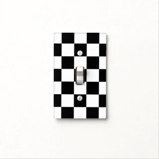 Modern Black and White Checkerboard Light Switch Cover
