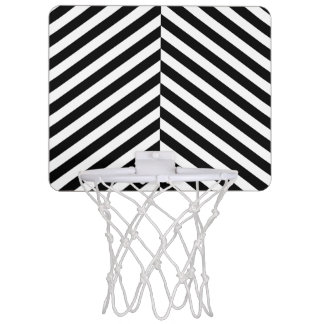 Modern Black And White Chevron Stripes Pattern Mini Basketball Hoop