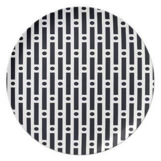 Modern Black and White Circles and Stripes Plate