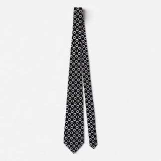 Modern Black and White Circles Pattern Men's Tie