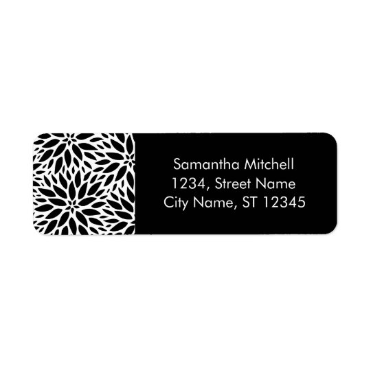 Modern Black And White Dahlias Address Labels
