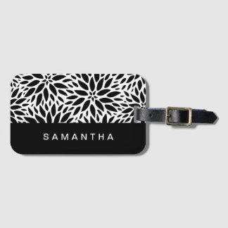 Modern Black And White Dahlias Luggage Tag
