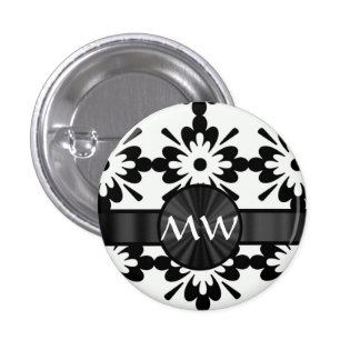 Modern black and white daisy design pin