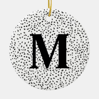 Modern Black and White Dalmatian Spots Ceramic Ornament