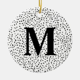Modern Black and White Dalmatian Spots Round Ceramic Ornament