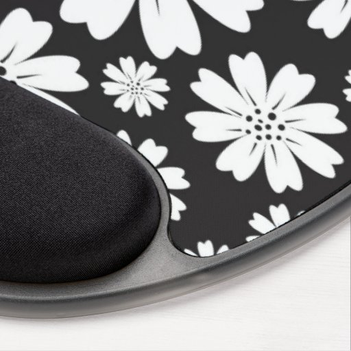 Modern Black And White Ditsy Floral Pattern Gel Mousepads