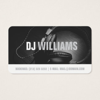 Modern Black and White DJ DeeJay Musician Business Card
