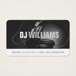 Modern Black and White DJ DeeJay Musician Business Card