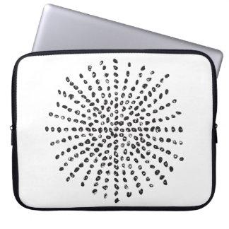 Modern Black and White Dot Burst Laptop Computer Sleeve