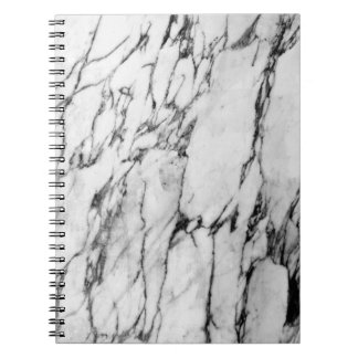 Modern black and white fashion marble pattern spiral notebook